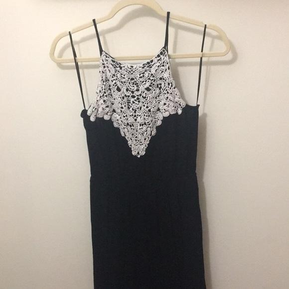 Other - Black Halter Crochet Neckline Romper